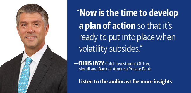 Now is the time to develop a plan of action so that it's ready to put into place when volatility subsides. says Chris Hyzy, Chief Investment Officer, Merrill and Bank of America Private Bank. Listen to the audiocast for more insights.