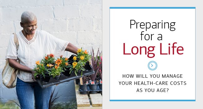 The image on the left is of an elderly woman outside holding several potted plants. To the right, there is a box with text. The hed reads- Preparing for a (bold) Long Life. A clock icon is beneath the hed. The dek below the icon reads- How Will You Manage Your Health-Care Costs As You Age