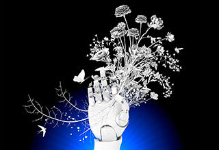 Robotic hand and flowers image