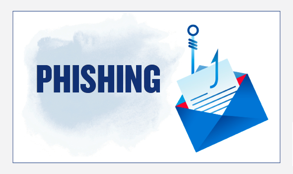 On the left, the header text reads: Phishing. On the right there is an illustration of an open envelope containing a letter. A fishing hook is sticking through the envelope and the letter.