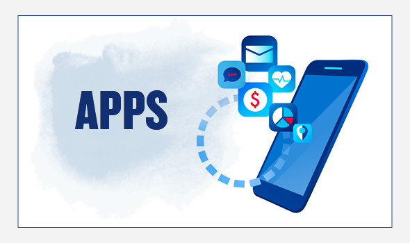 On the left, the header text reads: Apps. On the right there is an illustration of a cell phone. Various apps are floating above the phone, along with a circle connecting some of the apps.