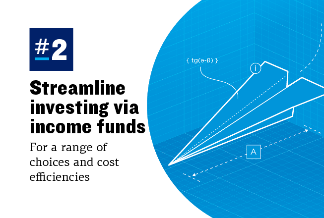 Graphic showing an illustration of a paper plane and explaining that streamlining investing via funds can offer cost efficiencies
