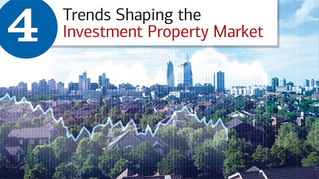 Title slide, with hed, 4 Trends Shaping the Investment Property Market and skyline view of the suburbs merging with the city.  There is a light grid over the entire image and light blue fever graph line over several of the suburban homes in the foreground – to indicate trends.
