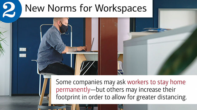 "Slide two, with hed, New Norms for Workspaces and text, ""Some companies may ask workers to stay home permanently – but others may increase their footprint in order to allot for greater distancing."