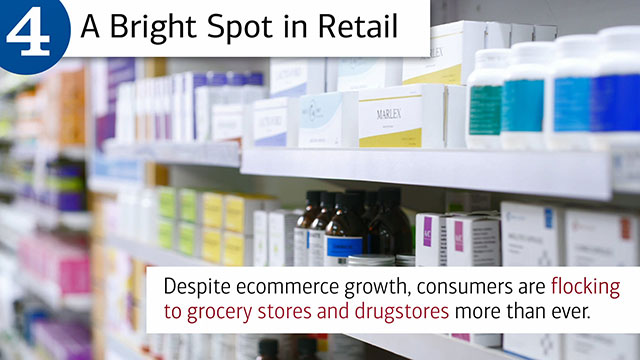 Slide four, with hed, A Bright Spot in Retail and text, Despite ecommerce growth, consumers are flocking to grocery stores and drugstores more than ever. Image is a close-up of prescription bottles on a shelf at a pharmacy.